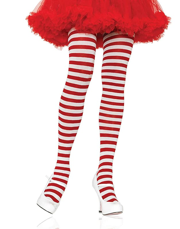 Leg Avenue Nylon Stripe Tights White Red